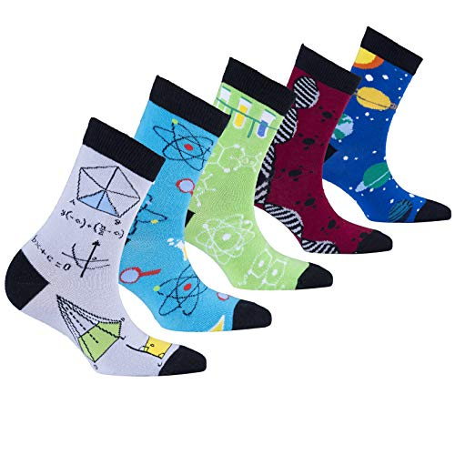 (Socks n Socks-Kids 5-pair Fun Cool Cotton Colorful Science Socks Gift Box-Medium)