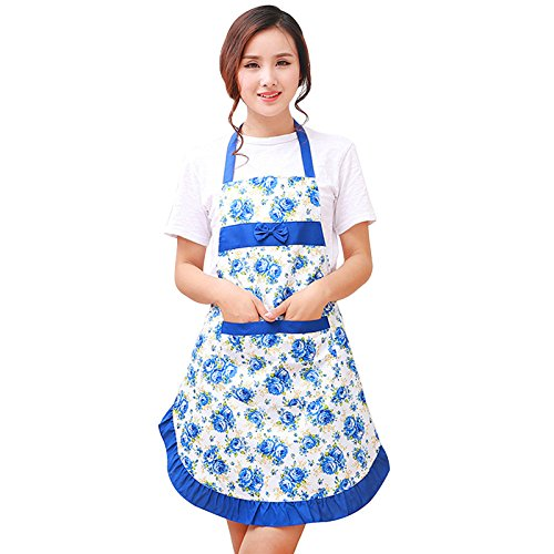 no!no! Waterproof Printed Aprons with Floral Kitchen wear Oil Prevention Apron Shoulder Strap Style Women Restaurant Home Kitchen Apron (Blue) ()