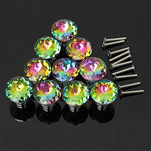 CSKB 10PCS Colorful Crystal Glass Diamond Cut Door Knob for Wardrobe,Cabinet, Drawer, Chest, Bin, Dresser, Cupboard, Etc with Screw Set Home Decoration