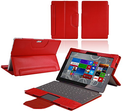 (Navitech - Microsoft Surface Pro 3 Red Bycast Leather Case/Cover Fits with Type & Touch Cover)