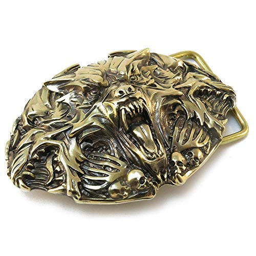 Belt Buckle Cerberus made from Solid Brass for Man or Woman; Three headed dog -