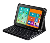 "Navitech Folding Leather Folio Case Cover & Stand with Removable Keyboard Compatible with The Fire Tablet with Alexa, 7"" Display, 8 GB, Black, Blue, Magenta, Tangerine"