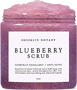 Brooklyn Botany Blueberry Body Scrub - For Anti Aging & Exfoliation - Great for Acne Scar, Spider Veins, Stretch Marks, Fine Lines & Wrinkles - 10 oz