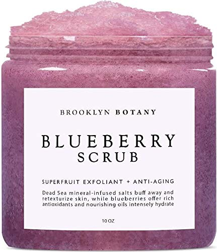 Blueberry Body Scrub 10 oz - For Anti Aging & Exfoliation - Great for Skin Lightening, Acne Scar, Spider Veins, Stretch Marks, Fine Lines & Wrinkles - Brooklyn Botany