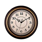 Kinger_Home 12-inch Silent Non-Ticking Round Wall Clocks, Imitate Wooden Wall Clocks Decorative Vintage Style,Home Kitchen/Living Room/Bedroom(Golden Circle)