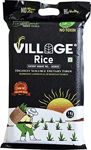 Village Rice Highest Soluble Dietary Fiber Rice with High Protein | Low Glycemic Index (GI) | High-Resistant Starch | Non-Digestible Oligosaccharides – 5 KG