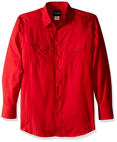 Wrangler Men's Size Silver Edition Tall Western Long Sleeve Woven Shirt, Red, X-Large