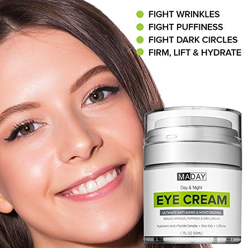 51jumcMMCIL - Eye Cream - Reduce Dark Circles, Puffiness & Under Eye Bags - Effective Anti-Wrinkles Treatment - Anti-Aging Eye Gel with Hyaluronic Acid, Gotu Kola Extract, Caffeine - Refreshing Eye Serum