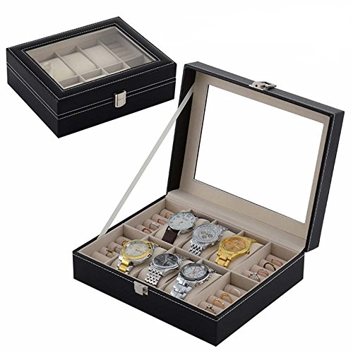 Cufflink ring watch box storage organizer pu box mens 22 for Men s jewelry box for watches and cufflinks