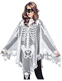 Women's Skeleton Halloween Costume Skeleton Cape Poncho,Includes Masquerade Mask for Halloween