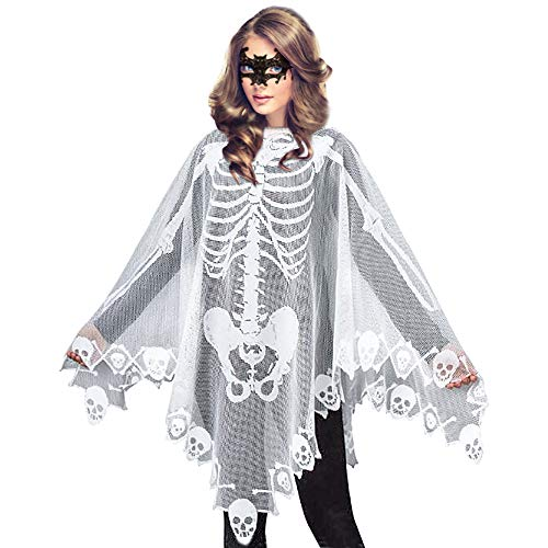 Women's Skeleton Halloween Costume Skeleton Cape Poncho,Includes Masquerade Mask for Halloween(White)