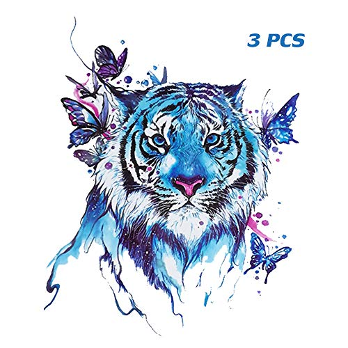 Yesallwas Large Watercolor Fake Tattoos Stickers Half Arm for Women Men Teens Guys Butterfly Tiger Shoulder Chest Back Temporary Tattoo 15x21cm/5.9x8.26inch -