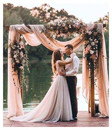 Chiffon Sheer Curtain Drape 9.8ftx10ft Wedding Panel Backdrop Light Peach Birthday Backdrops for Photography (Sheer Peach)