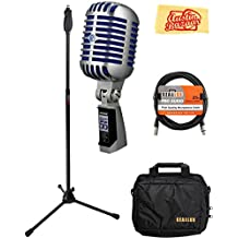 Shure Super 55 Deluxe Vocal Microphone Bundle with Boom Stand, Gear Bag, XLR Cable, Polishing Cloth