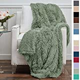 The Connecticut Home Company Luxury Shag Bed Throw Blanket, King Size, 108x90, Super Soft, Large Wrinkle Resistant Reversible Blankets, Warm Hypoallergenic Washable Throws for Beds, Sage