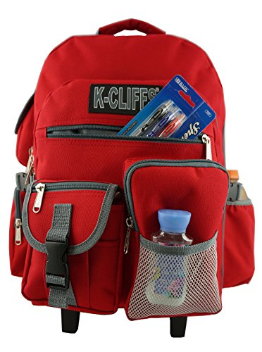 Heavy Duty Wheeld Backpack Deluxe Rolling Backpack School Backpack with Wheels Quality Rolling Book Bag Daypack with multiple Pockets