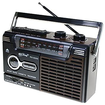 Radio Tarjetas Sdmmcfuncionamiento Madera Y A Retro Red Color Negro26 Con X PilasEstilo Memoria Lector Usb De 17 10 Grabador Cassette NOkP8nZXw0