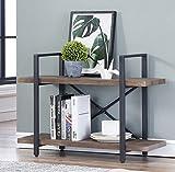 O&K Furniture 2-Shelf Vintage Industrial Bookcase, Display Rack Stand Storage Shelving Unit, Gray-Brown