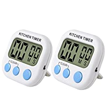 SlowTon Magnetic Digital Kitchen Timer, 2 Pack Loud Alarm Electronic Clock with Large LCD Screen and Retractable Stand for Cooking Sleeping Sports Office (Battery Not Included)