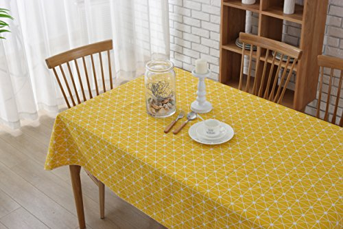 YIPOINT Cotton Tablecloth YIDIAN Geometric Series Pattern Rectangular Tablecloth Dust-Proof for Kitchen Dinning Tabletop Decor(5570inches)