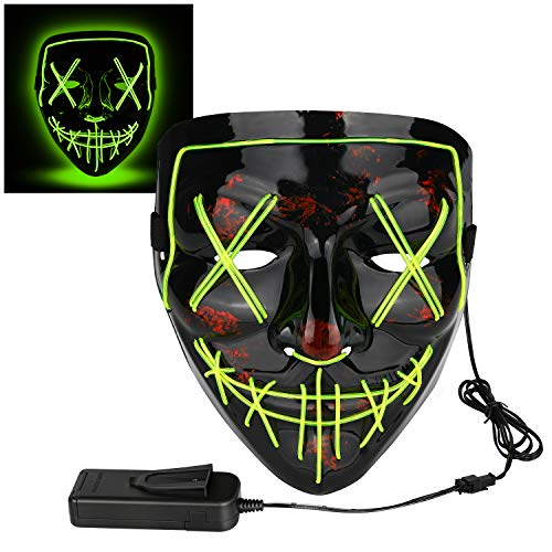 Poptrend Halloween Mask LED Light up Mask for Festival Cosplay Halloween Costume Masquerade Parties,Carnival,Gifts (neon