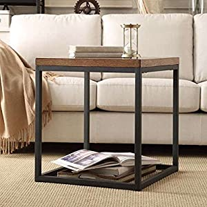 TRIBECCA HOME Dixon Rustic Oak Industrial Occasional End Table (24 Inches  High X 24 Inches Wide X 22 Inches Deep)