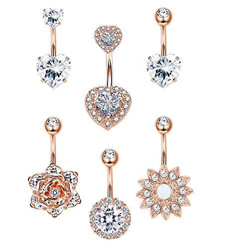 LOYALLOOK 6PCS Stainless Steel Belly Button Rings Womens Girls CZ Navel Rings Curved Barbell Rings Double Heart CZ Body Piercing 14G Rose Gold Tone