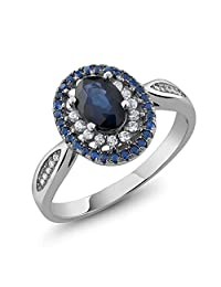 1.60 Ct Oval Blue Sapphire 925 Sterling Silver Ring