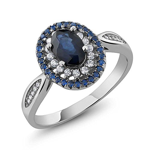 Blue-Sapphire-925-Sterling-Silver-Womens-Engagement-Ring-162-cttw-7X5MM-Oval-Cut-Available-in-size-5-6-7-8-9