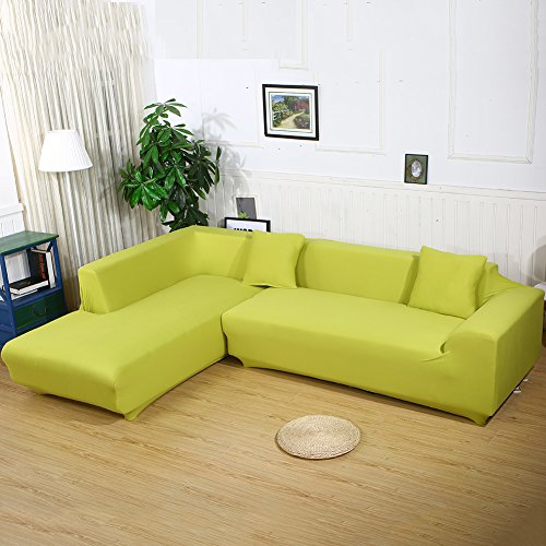3 Seater L Shape Loveseat Chair Stretch Sofa Couch Protect Cover Slipcover Green - 2