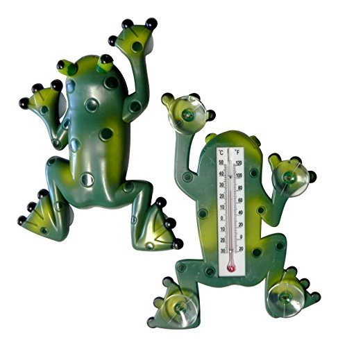 Dependable Frog Shape Window Thermometer with Suction Cups Indoor Outdoor (Window Thermometer)