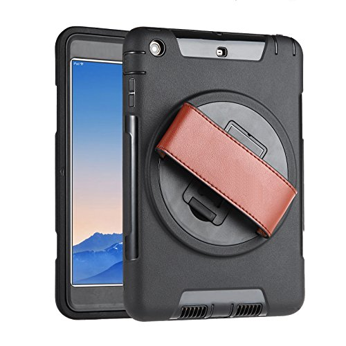 iPad mini 3/2/1 Case with Strap, Beeiee 360 Degree Rotation Protective Handheld Case with Leather Hand Strap and Built-in Stand for iPad mini 1 2 3 (Not for iPad mini (Leather Hand Strap)