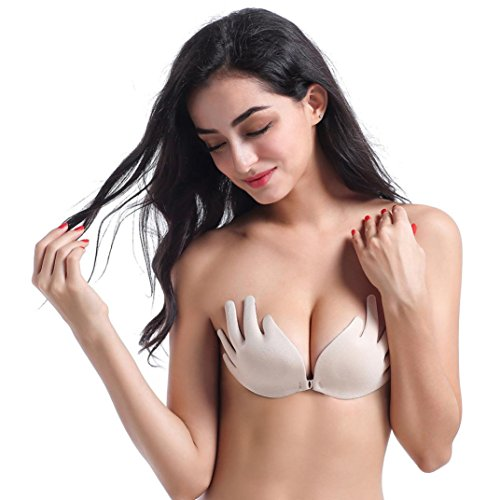 Lamolory Strapless Bra Self Adhesive Goddess Push Up Bra Reusable Silicone Invisible Backless Bras For Women (Khaki, A)