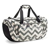 Runetz - Extra Large Chevron GRAY Gym Bag Athletic Sport Shoulder Bag for Men & Women Duffel 30-inch - Chevron Grey