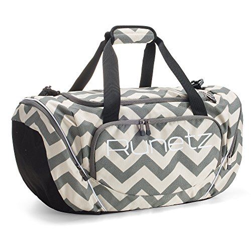 "Runetz Gym Duffle Bag - Sports Bag for Men and Women - Ideal Workout, Travel Overnight, and Gym Bag - Athletic Duffle Bag - Large Size, 20"" x 10"" x 10.5"" - CHEVRON GRAY"