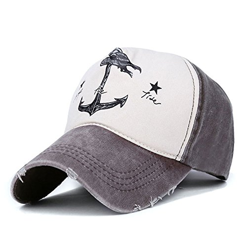 Superhappy Vintage Style The Pirate Ships Anchor Printing Multicolor Adjustable Baseball Cap (Brown & - 23 Printing Official