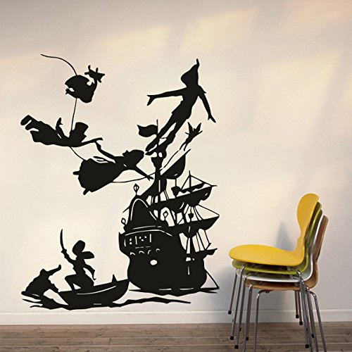 Wall Decal Peter Pan Cartoon Ship Pirates Hook Sticker Bedroom Kids Girls Boys Teenager Room Customized (548uk) BestSticker