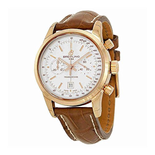 Breitling Transocean Chronograph 38 Silver Dial 18kt Rose Gold Leather Mens Watch R4131012-G758BRCT
