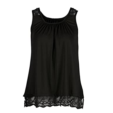 a892beb214f Women O-Neck T-Shirt Sleeveless Tops Pure Color Lace Plus Size Vest Loose
