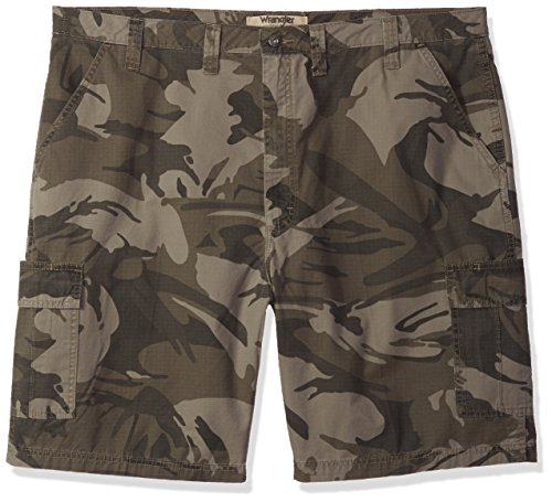 Wrangler Authentics Men's Big & Tall Classic Cargo Twill Short, Dark Khaki Camo Ripstop, 46