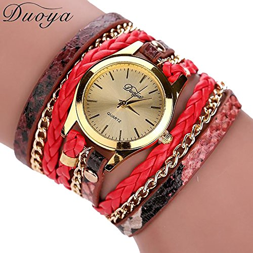 Womens Fashion Numerals Golden Dial Leather Analog Quartz Watch Red - 8