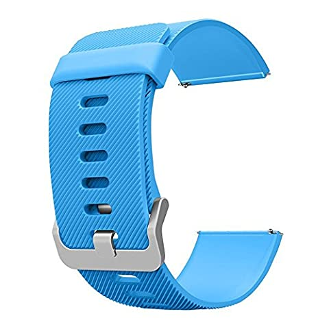 Wearlizer Classic Band Silicone Replacement Strap For Smart Fitness Watch Fitbit Blaze - Sky Blue (Hart Bit Watches)