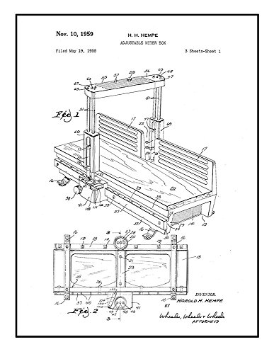 Adjustable Miter Box Patent Print Black Ink on White with Bo
