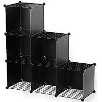 Famistar Bookcase Shelf Oragnizer 3-Tier Plastic DIY Cube Storage Closet Portable Display Cabinet