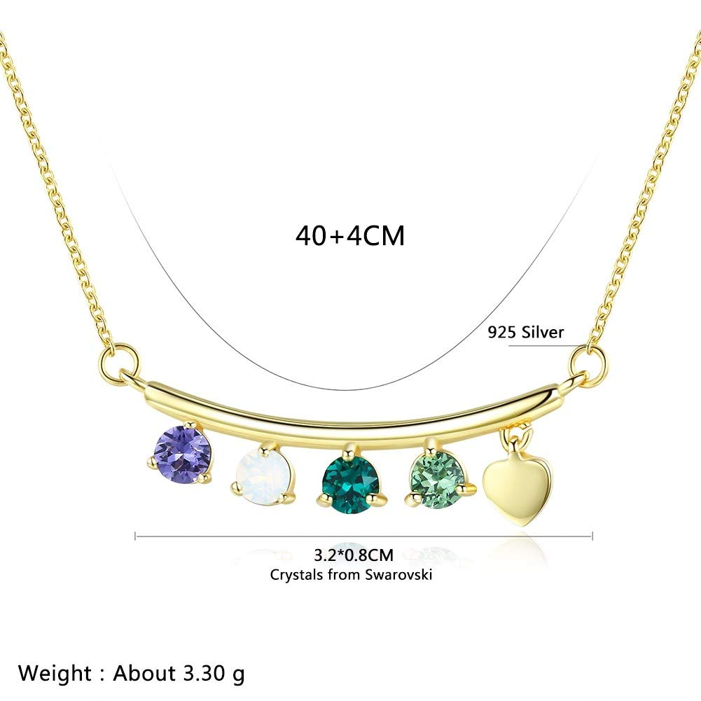 myazs8580 LEKANI Crystals from Swarovski S925 Long Melange Crystal Light Luxury Pendant Necklace
