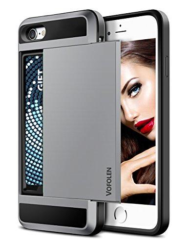 - iPhone 7 Case, Vofolen Sliding Card Holder iPhone 7 Wallet Case Cover Secret ID Slot Rugged Protective Hard Shell Skin Flexible Soft TPU Rubber Hybrid tough Bumper Armor case for iPhone 7 8 (Grey)
