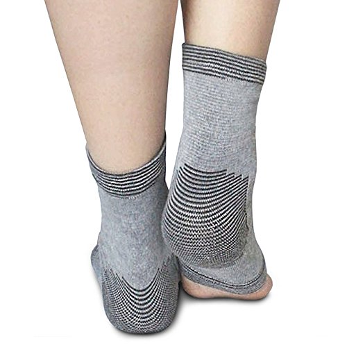 Ankle Sleeve in Bamboo Charcoal By Light Step. One Size Fits All Giving Light to Medium Ankle Support. Wear with or Without Socks to Warm the Joint. Perfect Yoga Socks! (Support Bamboo Charcoal Ankle)