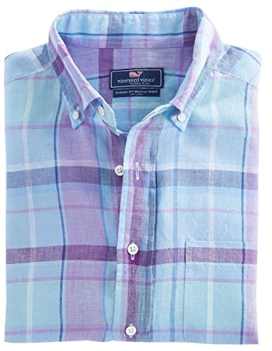 Vineyard Vines Men's Linen Plaid Classic Murray Shirt (M, Jake Blue) (Shirt Plaid Linen)