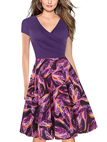 oxiuly Women's V-Neck Cap Sleeve Floral Casual Work Stretch Swing Dress OX233 (L, Purple FP)