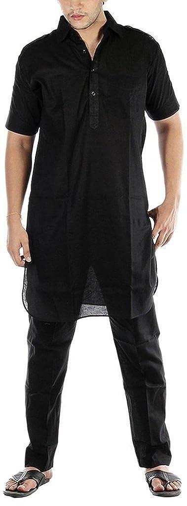 Royal Kurta Men's Luxury Cotton Pathani Kurta Pyjama Set _Half Sleeves KAMIJ-PYJAMA-BK-HS-38x-$P